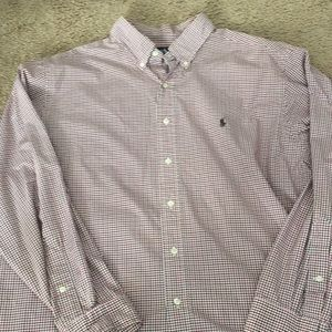 Polo button up shirt.  Brown and red.  Size 18